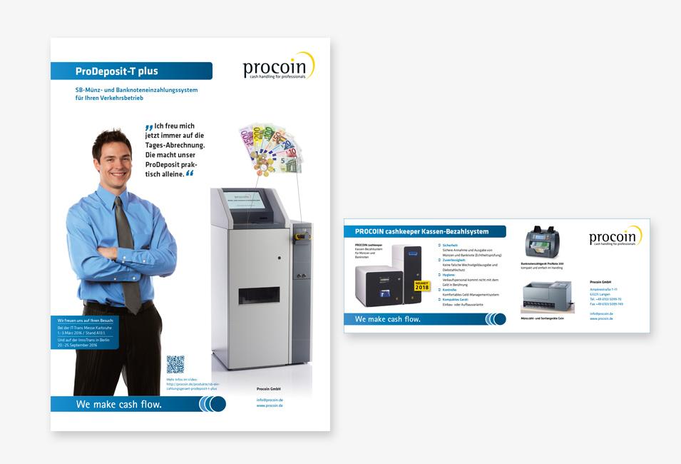 Procoin Anzeigen mit Maschinen und Mann