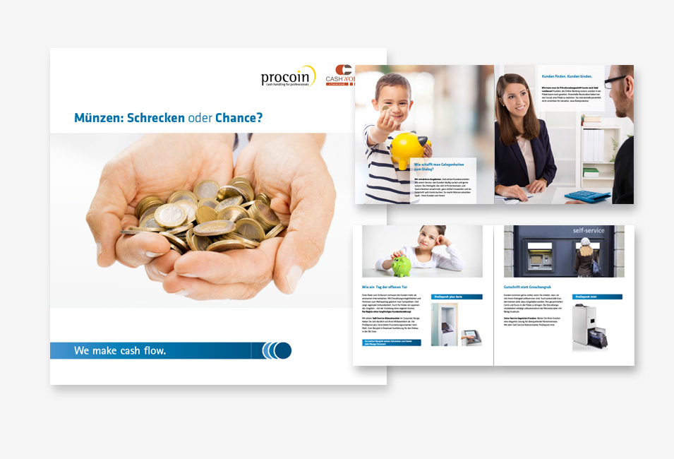 Procoin Werbebroschüre Cover und Beispielseiten