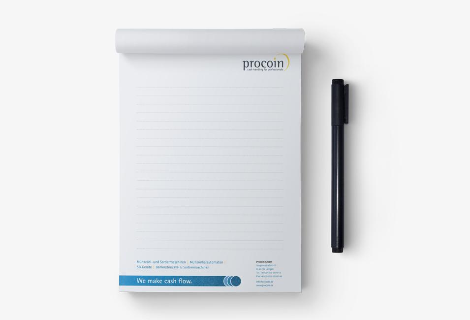 Procoin Notizblock mit Logo und Linien