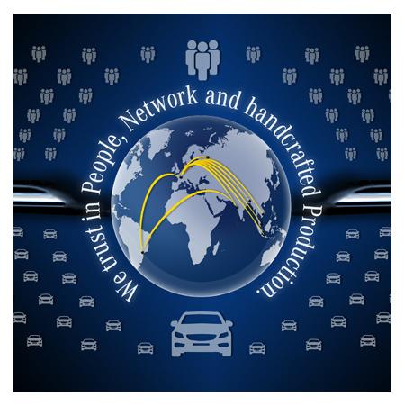 Daimler Network Composition mit kleinen Icons in Form von Mercedes Autos und Menschen