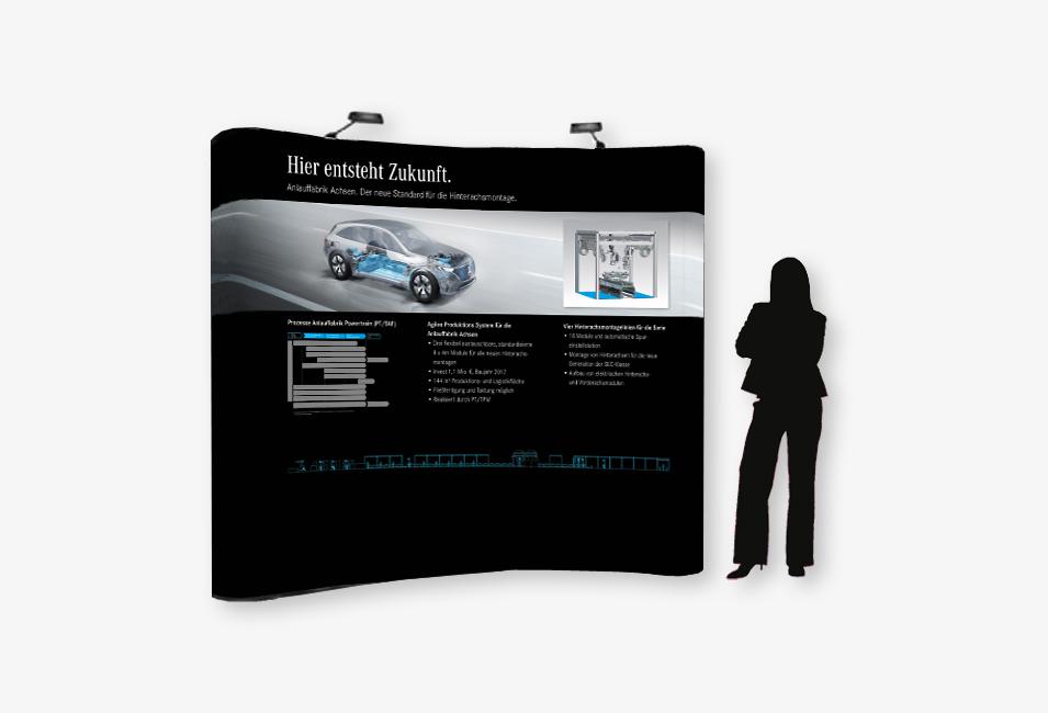 """Messewand für Daimler """"Hier entsteht Zukunft"""""""
