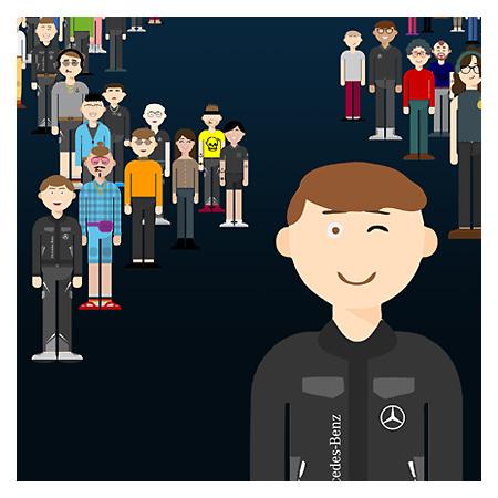 Daimler Plakat mit vielen kleinen Avataren