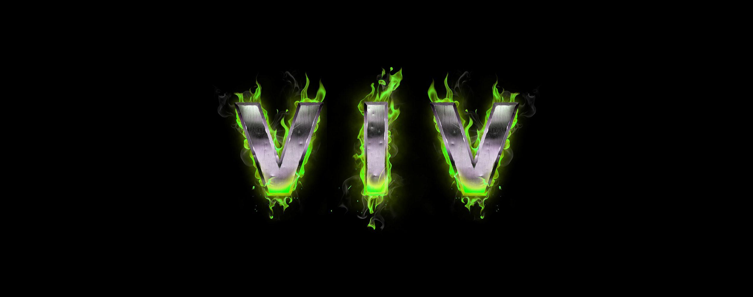 ViV Werbeagentur Logo aus Metall mit grünen Flammen