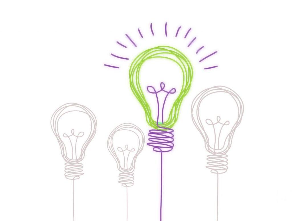 Gescribbelte Glühbirnen in den ViV Hausfarben lila und grün