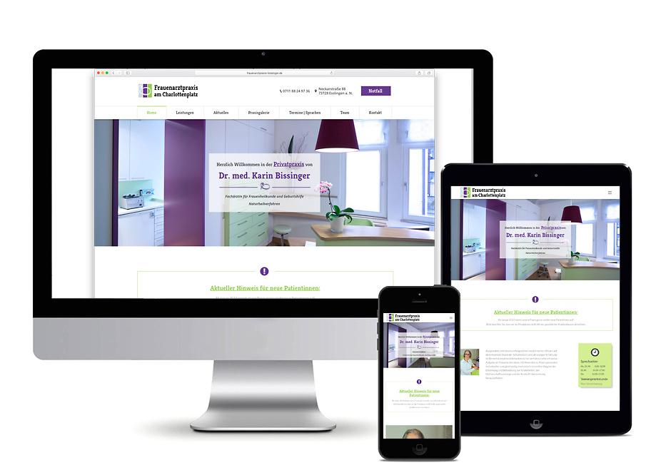 Responsive Webdesign auf Computer-, Tablet- und Smartphonebildschirm