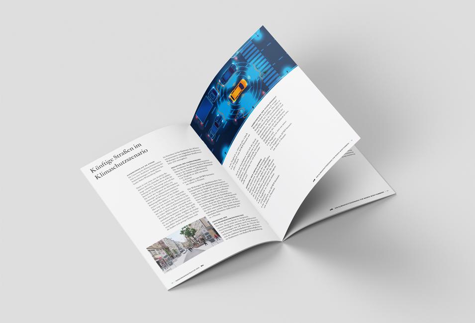 Seiten der Broschüre für das Kimaschutzszenario für 2030 des Baden-Württembergischen Verkehrsministerium