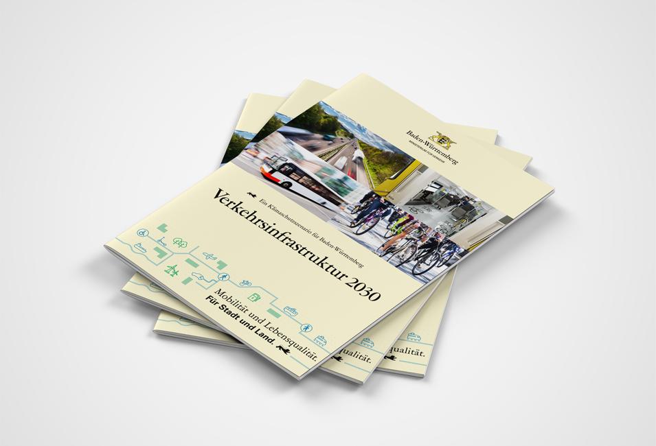 Broschürencover für das Kimaschutzszenario für 2030 des Baden-Württembergischen Verkehrsministerium